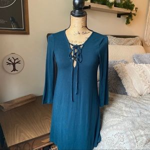 Teal Lace Up Swing Dress Size Small